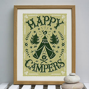 'Happy Campers' Camping Print - pictures & prints for children