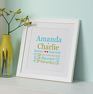 Personalised Wedding Typographic Print - gifts for couples