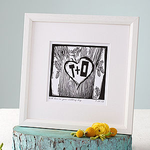 Personalised Woodcut Print - engagement gifts