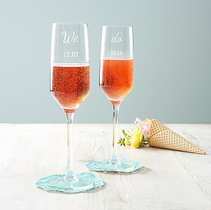 Personalised 'We Do' Wedding Champagne Flute Set - dining room