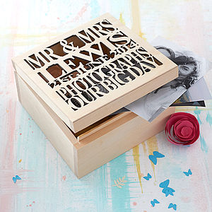 Personalised Wooden Wedding Keepsake Box - wedding gifts & cards sale
