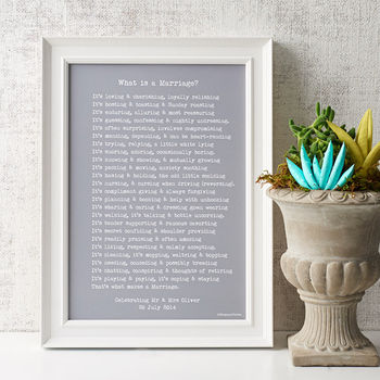 'What Is A Marriage?' Personalised Poem Print