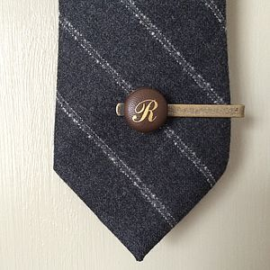 Personalised Vintage Leather Tie Clip - tie pins & clips