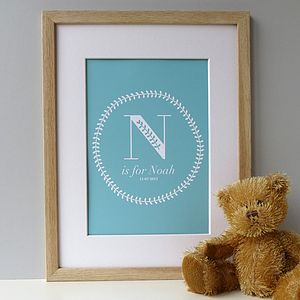 Personalised Baby Name Print Boy / Blue - baby & child sale