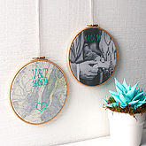 Personalised Cotton Embroidered Map Hoop - prints & art
