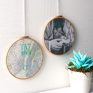 Personalised Cotton Embroidered Map Hoop - living room