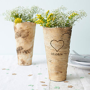 Personalised Birch Bark Vase - 5th anniversary: wood