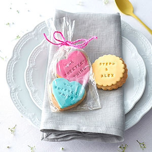 Pack Of Two Personalised Wedding Favour Cookies - wedding favours