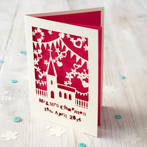 Personalised Papercut Church Wedding Card - wedding cards