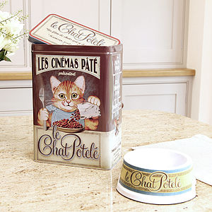 French Cat Treats Tin And Feeding Bowl