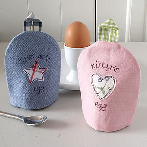 Personalised Embroidered Fabric Egg Cosy - egg cups & cosies