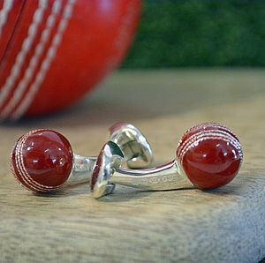 Silver And Enamel Cricket Ball Cufflinks