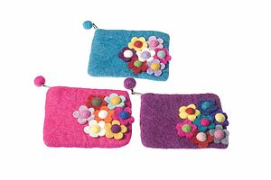 Handmade Felt Flower Design Purse - bags & purses