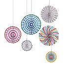 Toot Sweet Pinwheel Paper Fan Decorations Set Of Six