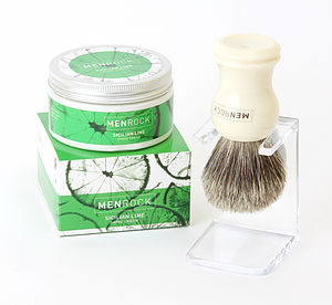 Sicilian Lime Shave Cream, Badger Brush And Stand