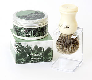 Oak Moss Shave Cream, Badger Brush And Stand