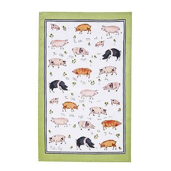 This Little Piggy Linen Tea Towel
