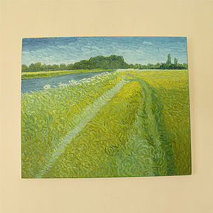 'Windy Yellow Landscape' Oil Painting - paintings & canvases