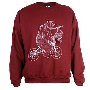 Bear On Bicycle Jumper - women's fashion