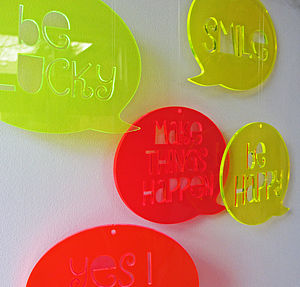 Perspex Speech Bubble - children's room