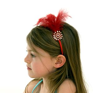 Jewelled Flower Alice Band With Feather Plume - hair accessories