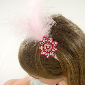 Diamante Star Hairband With Feather Plume - hair accessories
