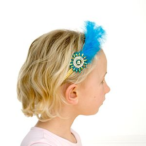 Peacock Handmade Hairband With Feather Plume