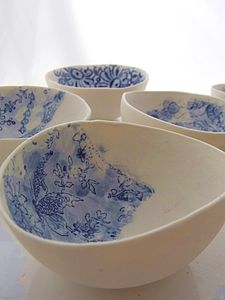 Porcelain Dish With Antique Lace Imprint - ceramics