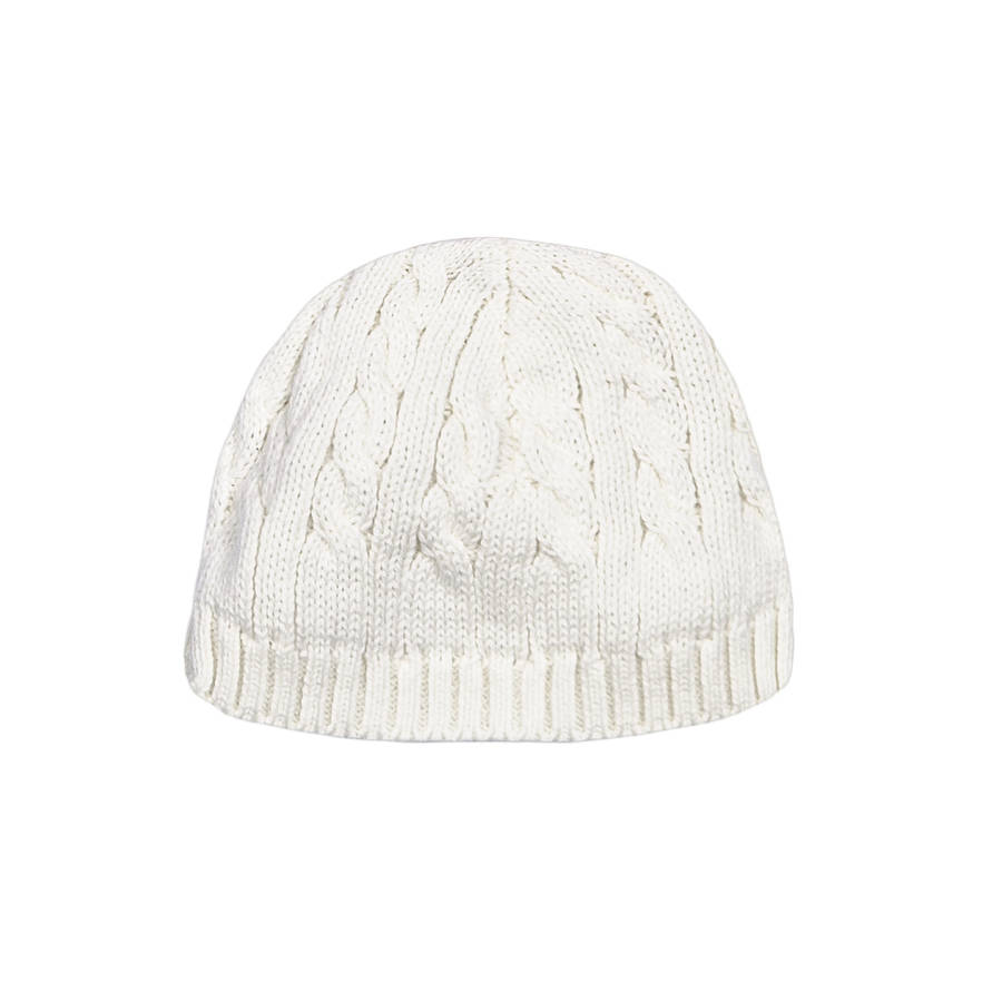 Baby Boys Cable Hat Cream. Pale Blue e31507a54df1