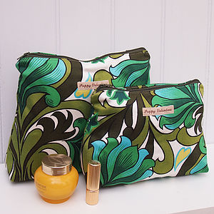 Cosmetic Bag Gift Set Sixties Green Swirl - make-up bags