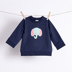Baby's Elephant Organic Sweatshirt - clothing