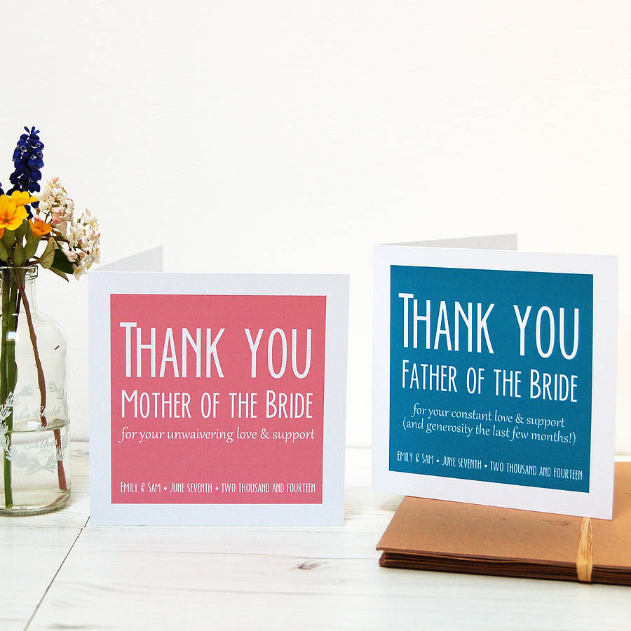 Personalised Wedding Parents Thank You Card By Spotty N Stripy