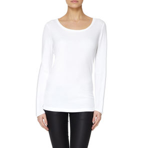 Essential White Long Sleeved Modal Cotton T Shirt - women's fashion