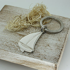 Sterling Silver Sailing Keyring - men's accessories