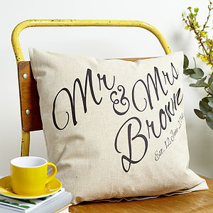 Personalised 'Mr And Mrs' Cushion - bedroom