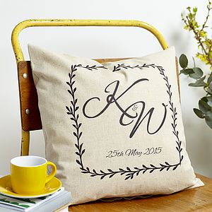 Personalised Monogram Linen Cushion - cushions