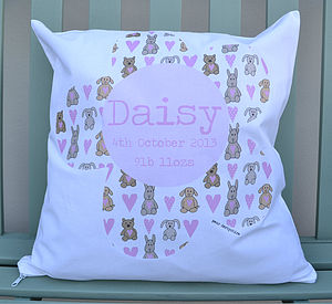 New Baby Girl Cushion - baby's room