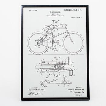 Framed Bicycle Vintage Art Print