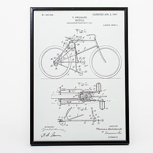 Framed Bicycle Vintage Art Print