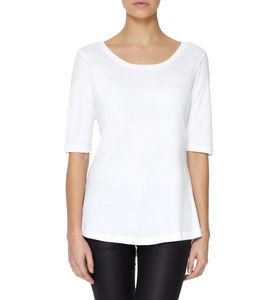 Essential White Half Sleeved Scoop Modal Cotton T Shirt - tops & t-shirts