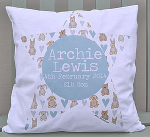 New Baby Boy Personalised Cushion - children's room