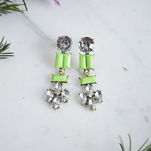 Green Jewelled Earrings - statement earrings