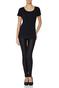 Basic Black Scoop Neck Modal Cotton T Shirt - tops & t-shirts