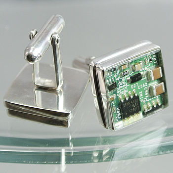 Computer Circuit Board Cufflinks  16mm  x  16mm   Set in Sterling Silver