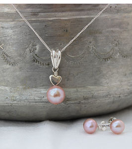 Pink Pearl Pendant With 6mm Stud Set - wedding fashion