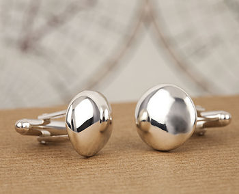 Solid Silver Pebble Cufflinks