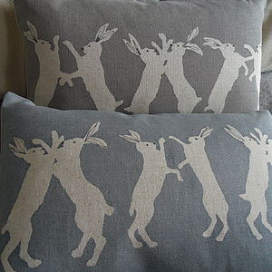 Little Boxing Hare Cushion - cushions