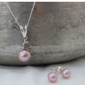 Pink Pearl Pendant With 6mm Stud Set