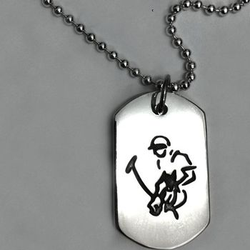 Sterling Silver Polo Player Dog Tag