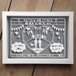 Personalised Civil Partnership Papercut - home sale